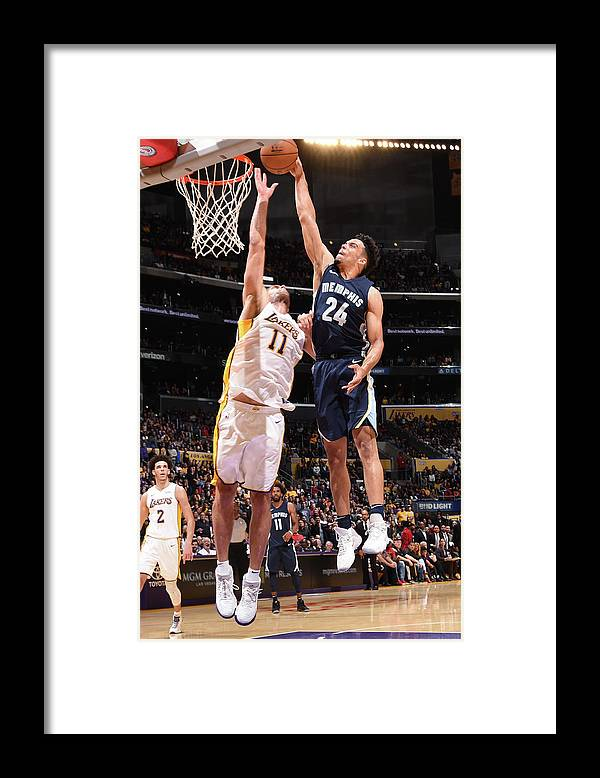 Nba Pro Basketball Framed Print featuring the photograph Brook Lopez and Dillon Brooks by Andrew D. Bernstein