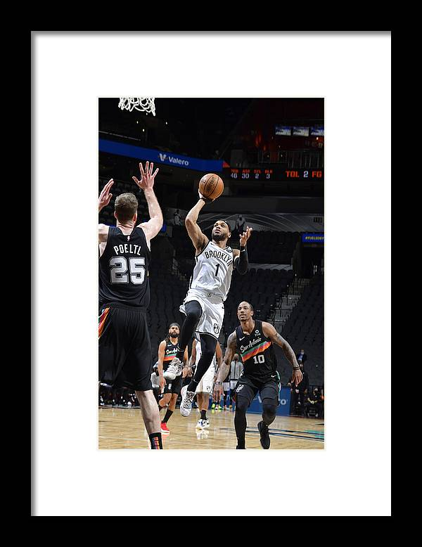 Nba Pro Basketball Framed Print featuring the photograph Brooklyn Nets v San Antonio Spurs by Logan Riely