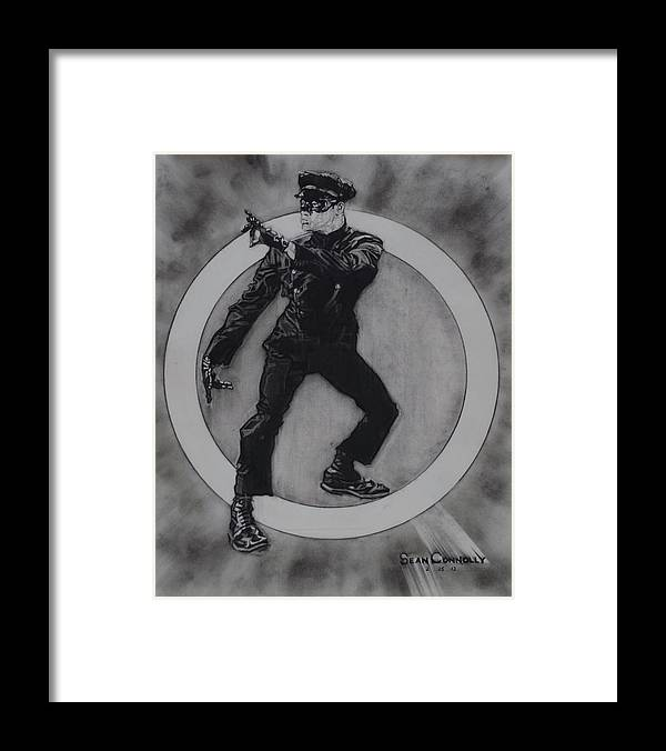 Charcoal On Paper Framed Print featuring the drawing Bruce Lee - Kato - 3 by Sean Connolly