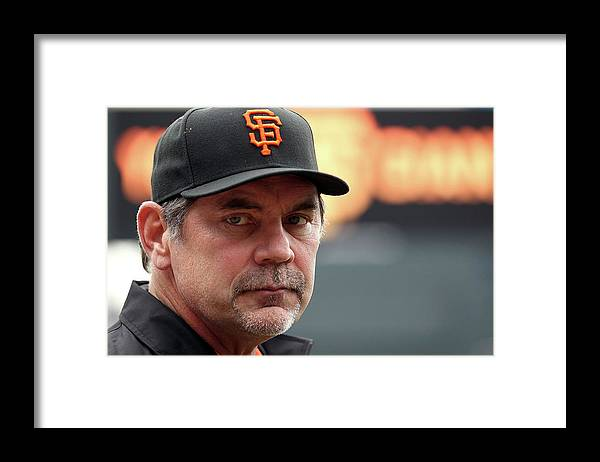 Bruce Bochy Framed Print featuring the photograph Bruce Look by Doug Pensinger