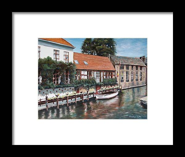 Belgium Framed Print featuring the painting Bruges Boat in Belgium by Jennifer Lycke