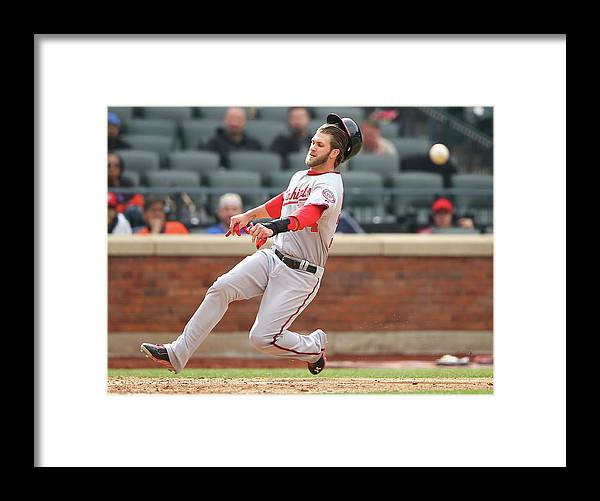 American League Baseball Framed Print featuring the photograph Bryce Harper by Al Bello