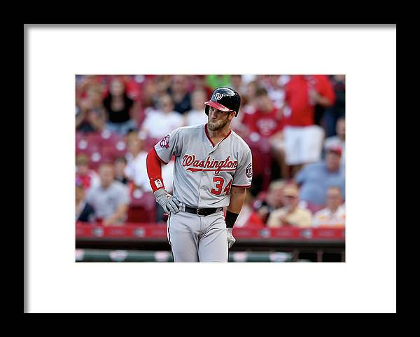 Great American Ball Park Framed Print featuring the photograph Bryce Harper by Andy Lyons