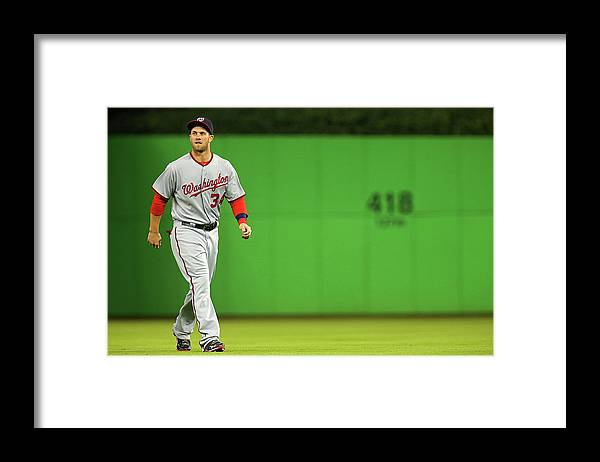 American League Baseball Framed Print featuring the photograph Bryce Harper by Mike Ehrmann