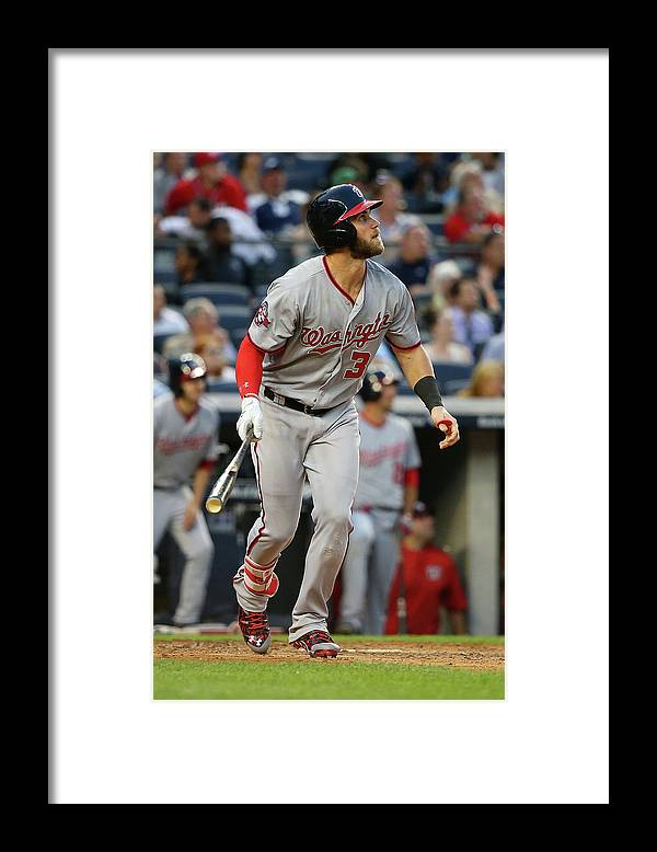 People Framed Print featuring the photograph Bryce Harper by Mike Stobe