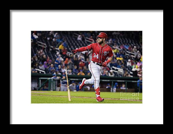Game Two Framed Print featuring the photograph Bryce Harper by Scott Taetsch
