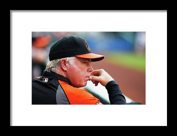 American League Baseball Framed Print featuring the photograph Buck Showalter by Scott Halleran