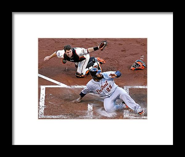 Game Two Framed Print featuring the photograph Buster Posey and Prince Fielder by Christian Petersen