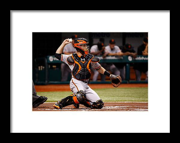 Baseball Catcher Framed Print featuring the photograph Buster Posey by J. Meric