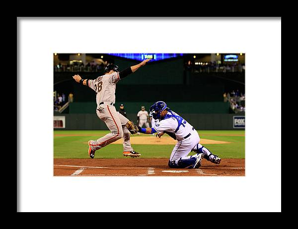 Salvador Perez Diaz Framed Print featuring the photograph Buster Posey by Jamie Squire