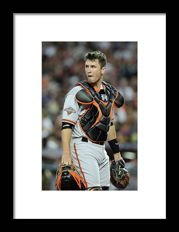 Second Inning Framed Print featuring the photograph Buster Posey by Jennifer Stewart