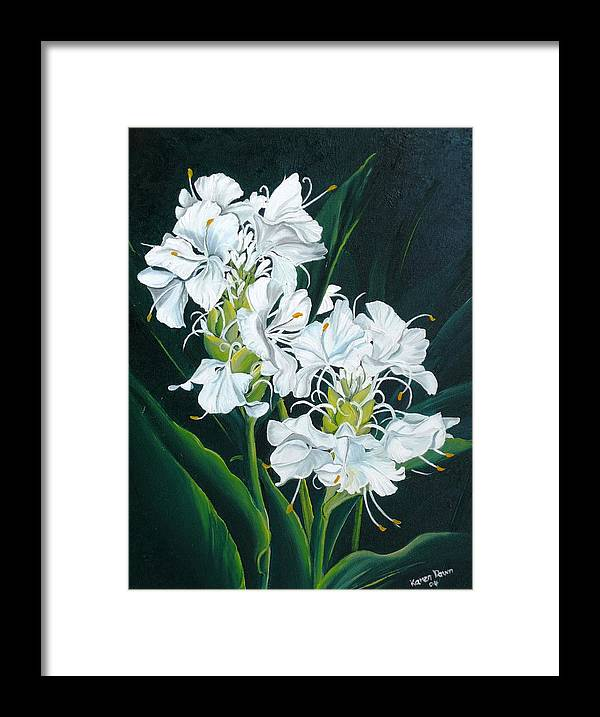 Caribbean Painting Butterfly Ginger Painting Floral Painting Botanical Painting Flower Painting Water Ginger Painting Or Water Ginger Tropical Lily Painting Original Oil Painting Trinidad And  Tobago Painting Tropical Painting Lily Painting White Flower Painting Framed Print featuring the painting Butterfly Ginger by Karin Dawn Kelshall- Best