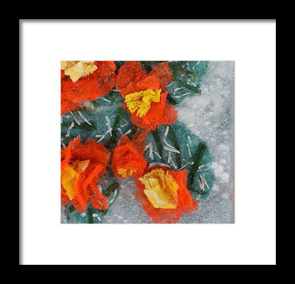 Dryer Sheets Framed Print featuring the mixed media Cactus Flowers by Charla Van Vlack