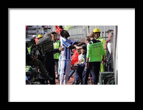 People Framed Print featuring the photograph Cagliari Calcio v Pescara Calcio - Serie A by Enrico Locci