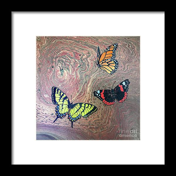 Butterflies Framed Print featuring the painting California Butterflies by Lucy Arnold