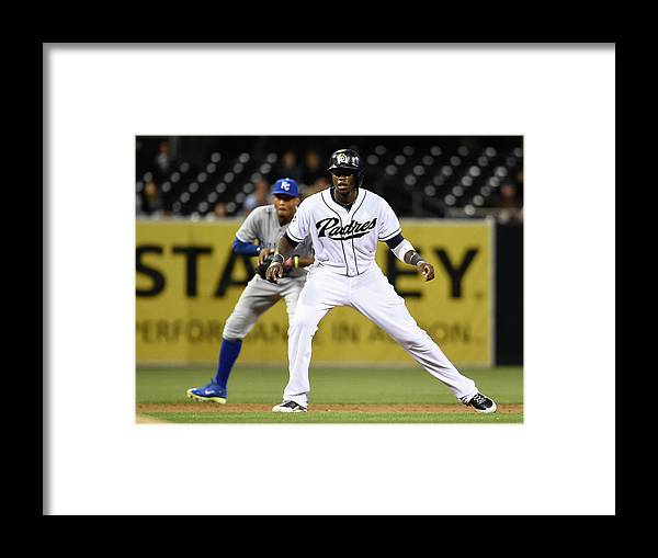 Second Inning Framed Print featuring the photograph Cameron Maybin and Alcides Escobar by Denis Poroy