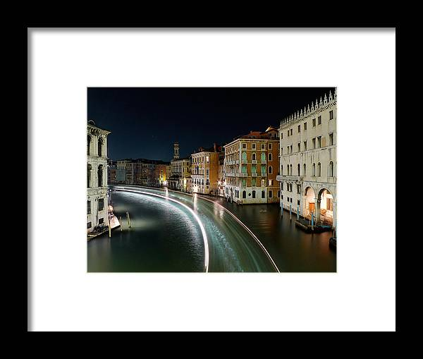 Post Framed Print featuring the photograph Canal Grande at night by Bernd Schunack