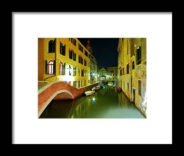 Outdoors Framed Print featuring the photograph Canal in Venice by Bernd Schunack