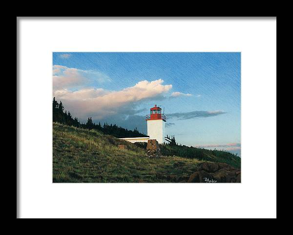 Lighthouse Framed Print featuring the drawing Cape D'Or by Brent Ander
