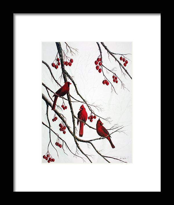 Birds; Cardinals; Trees Framed Print featuring the painting Cardinals And Crabapples by Ben Kiger