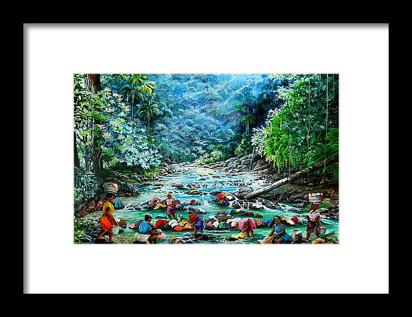Land Scape Painting River Painting Mountain Painting Rain Forest Painting Washerwomen Painting Laundry Painting Caribbean Painting Tropical Painting Village Washer Women At A Mountain River In Trinidad And Tobago Framed Print featuring the painting Caribbean Wash Day by Karin Dawn Kelshall- Best
