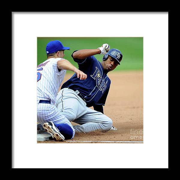 People Framed Print featuring the photograph Carl Crawford and David Wright by Icon Sports Wire