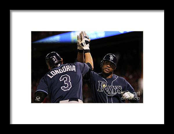 People Framed Print featuring the photograph Carl Crawford and Evan Longoria by Ronald Martinez