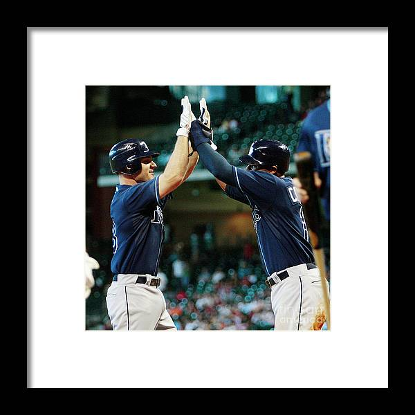Minute Maid Park Framed Print featuring the photograph Carl Crawford and John Jaso by Bob Levey