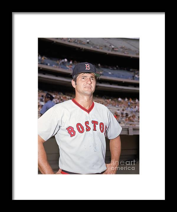 American League Baseball Framed Print featuring the photograph Carl Yastrzemski by Louis Requena