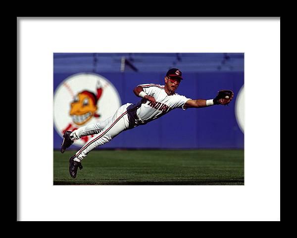 American League Baseball Framed Print featuring the photograph Carlos Baerga by Ronald C. Modra/sports Imagery