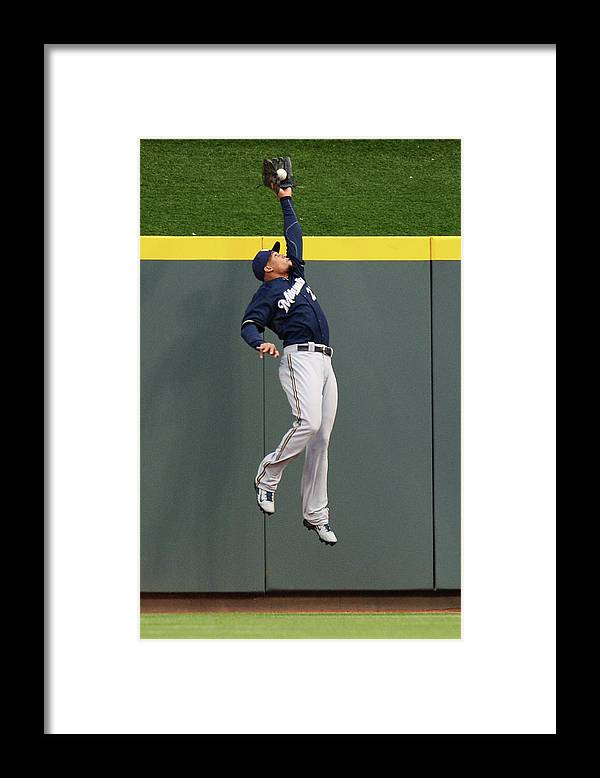 Great American Ball Park Framed Print featuring the photograph Carlos Gomez and Joey Votto by Jamie Sabau