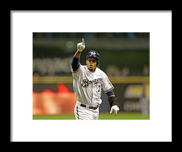 American League Baseball Framed Print featuring the photograph Carlos Gomez by Jeffrey Phelps
