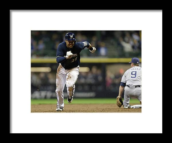 2nd Base Framed Print featuring the photograph Carlos Gomez by Mike Mcginnis