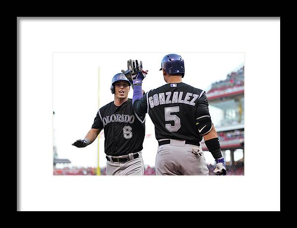 Great American Ball Park Framed Print featuring the photograph Carlos Gonzalez and Corey Dickerson by Jamie Sabau