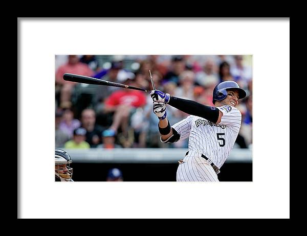 National League Baseball Framed Print featuring the photograph Carlos Gonzalez by Justin Edmonds