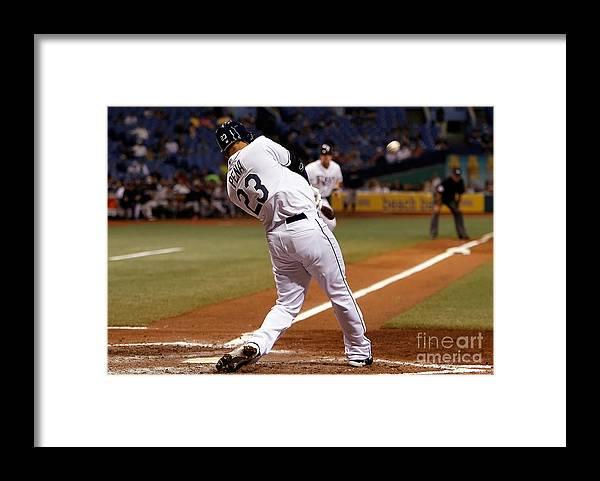 American League Baseball Framed Print featuring the photograph Carlos Pena by J. Meric