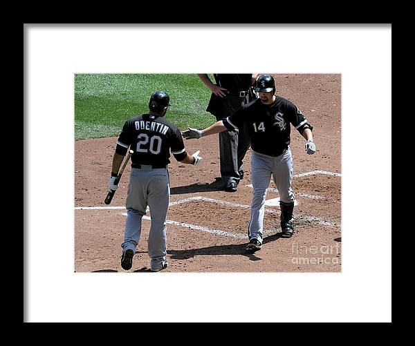 People Framed Print featuring the photograph Carlos Quentin and Paul Konerko by Hannah Foslien