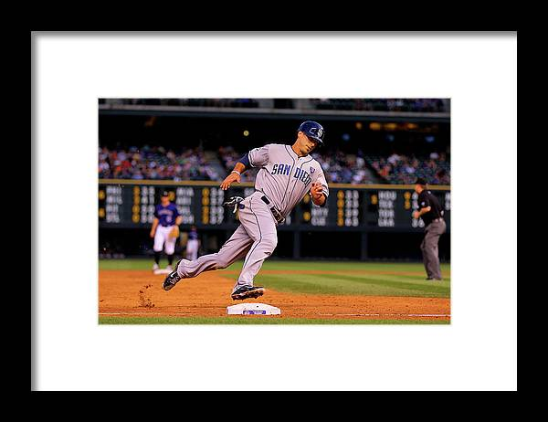 Scoring Framed Print featuring the photograph Carlos Quentin and Tommy Medica by Justin Edmonds