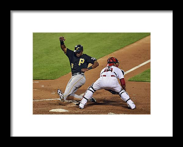 People Framed Print featuring the photograph Carlos Ruiz and Gregory Polanco by Drew Hallowell
