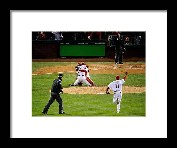 Baseball Catcher Framed Print featuring the photograph Carlos Ruiz, Brad Lidge, and Jimmy Rollins by Jeff Zelevansky