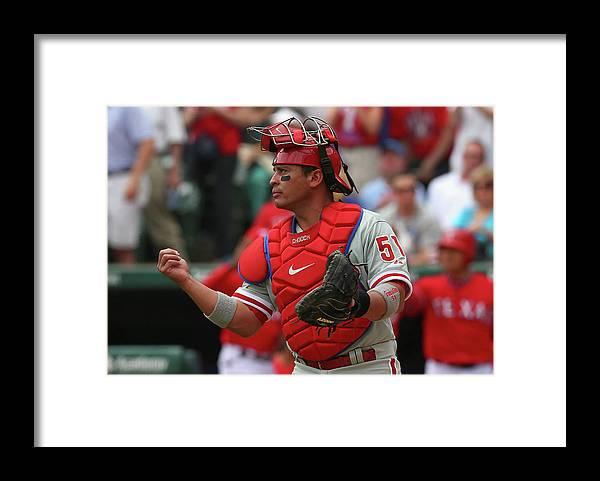 American League Baseball Framed Print featuring the photograph Carlos Ruiz by Ronald Martinez