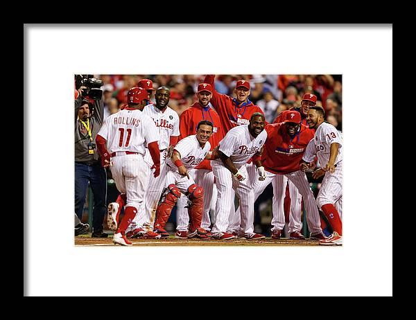 Tony Gwynn Jr. Framed Print featuring the photograph Carlos Ruiz, Ryan Howard, and Jimmy Rollins by Brian Garfinkel