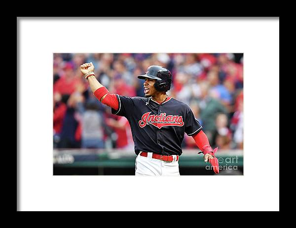 Game Two Framed Print featuring the photograph Carlos Santana and Francisco Lindor by Jason Miller