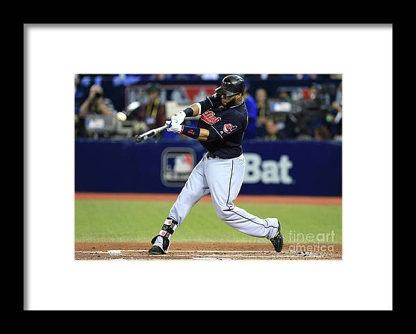 People Framed Print featuring the photograph Carlos Santana and Marco Estrada by Vaughn Ridley