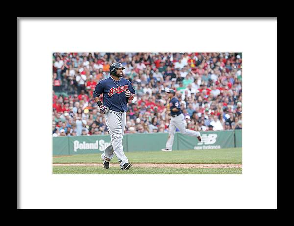 American League Baseball Framed Print featuring the photograph Carlos Santana by Jim Rogash
