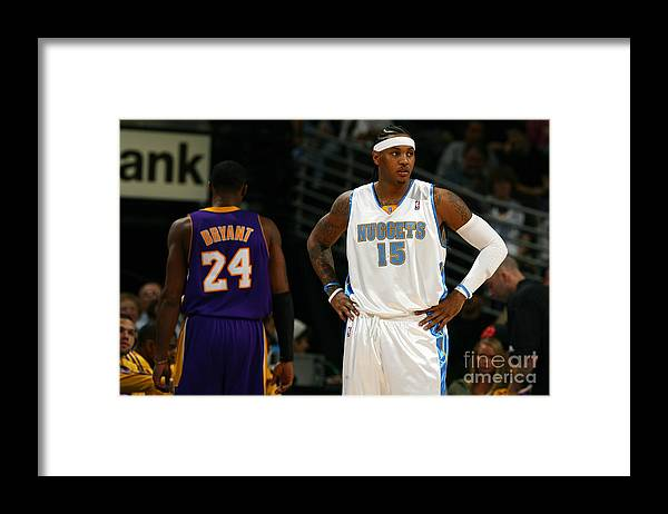 Nba Pro Basketball Framed Print featuring the photograph Carmelo Anthony, Allen Iverson, and Kobe Bryant by Garrett Ellwood