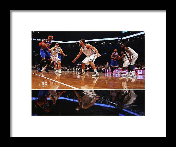 Nba Pro Basketball Framed Print featuring the photograph Carmelo Anthony, Brook Lopez, and Mirza Teletovic by Al Bello
