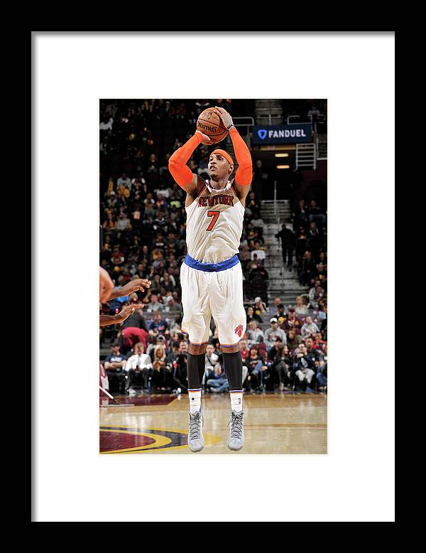Number 7 Framed Print featuring the photograph Carmelo Anthony by David Liam Kyle