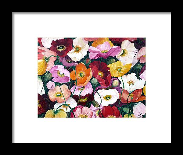 Flower Painting Floral Painting Poppy Painting Icelandic Poppies Painting Botanical Painting Original Oil Paintings Greeting Card Painting Framed Print featuring the painting Cascade Of Poppies by Karin Dawn Kelshall- Best