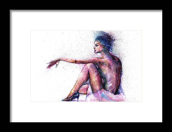 Woman Framed Print featuring the painting Cat original oil painting by Natalja Picugina